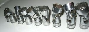 Snap On 9pc 3 8 Dr 6pt Metric 10mm 18mm Universal Shallow Swivel Socket Set