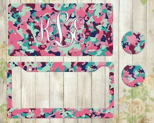 Camo Monogram License Plate Custom Car Accessories