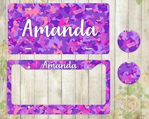 Purple Camo Monogram License Plate Custom Car Accessories