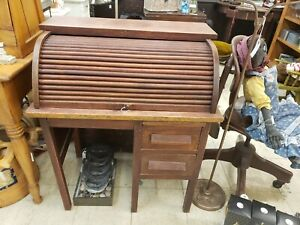 Antique Vintage Wooden Child S Roll Top Desk With 2 Drawers