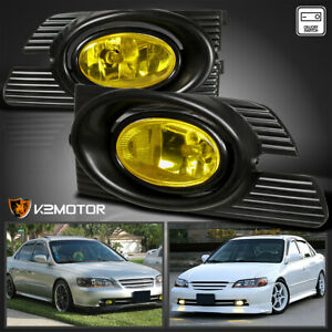 For 2001 2002 Honda Accord 4dr Yellow Bumper Fog Lights Lamp switch wiring 01 02