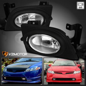 For 2006 2008 Honda Civic 4dr Si Clear Bumper Fog Lights Lamps switch Kit