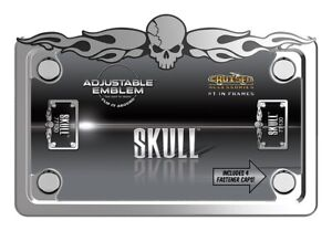 Skull With Caps Chrome Motorcycle License Plate Frame