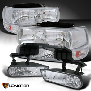99 06 Suburban Silverado Tahoe Crystal Chrome Headlights bumper Lamps fog Lights