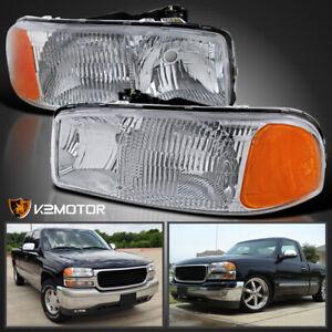 Fits 1999 2006 Gmc Sierra 2000 2006 Yukon Crystal Clear Headlights Head Lamps