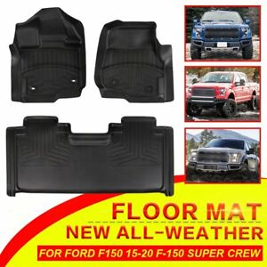 For Ford F150 F 150 2015 2019 Super Crew Cab Pickup Front rear Floor Mats Liners