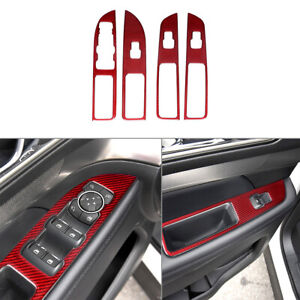 4pcs For Ford Explorer 2013 2019 Red Carbon Fiber Window Switch Panel Cover Trim