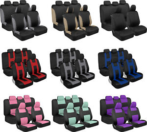 Universal Fit Full Set Car Seat Covers Beige Blue Red Charcoal Gray Mint Purple