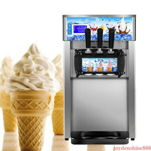 Electric 3flavor Commercial Soft Serve Ice Cream Cone Maker Making Machine 18l h