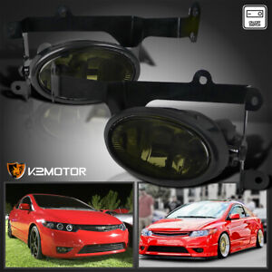 For 2006 2008 Honda Civic 2dr Coupe Smoke Bumper Driving Fog Lights Lamps Switch