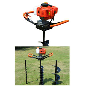 52cc Gas Powered Post Hole Digger W 4 6 8 Digging Auger Drill Bit 1 9w 2 4hp