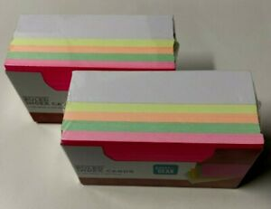2 Pks Of 200 Pen Gear Heavyweight Neon And White Lined Index Cards 3 X 5 Bnip