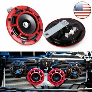 2pcs Compact Electric Loud Blast Red Grille Mount Super Tone Hella Horn Kits 12v