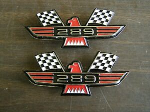 Ford 289 Crossed Flag Fender Emblems Red Mustang Fairlane Galaxie Falcon 1965