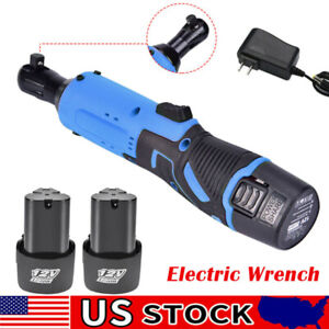 3 8 12v Cordless Electric Ratchet Wrench Kit Right Angle Tool 2 Battery Usa