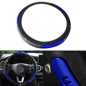 Pu Leather Black blue Car Steering Wheel Cover Anti slip Protector Accessories