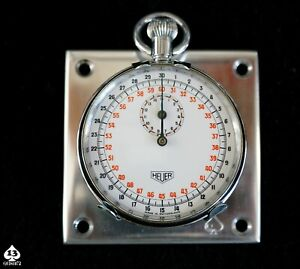 Antique Vintage Heuer Stopwatch Dashboard Rally Timer Panel Circa 1963