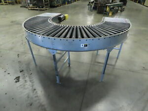Automotion 180 Curve Power Roller Bed Conveyor V belt Drive 1hp 3ph 30 X 10