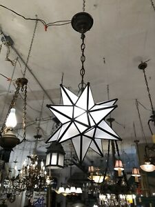 Contemporary Moravian Star Ceiling Pendant Light Rewired With Vintage Hardware