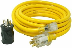 Yellow Jacket 25 Ft 10 3 15a Generator Cord With Bonus Adapter