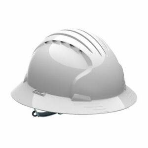 Jsp Full Brim Hard Hat Helmet With 6 Point Slip Ratchet Suspension White
