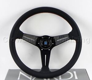 Nardi Steering Wheel Deep Corn 350mm Black Perf Leather Red Stitch Classic Horn