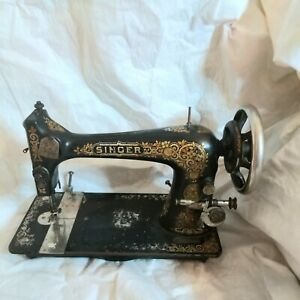 1898 Rare Decal Singer Model 27 Antique Treadle Hand Crank Sewing Machine