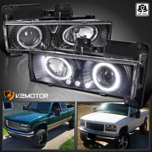 For 1988 1998 Chevy C10 Pickup Suburban Led Halo Projector Headlights Black Pair