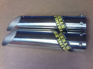 Vintage Stainless Steel Exhaust Tips 1 3 4 2 Diameter Chevy Ford Mopar
