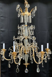 Grand Crystal Beaded Chandelier Gilt Metal Tole Baccarat Style Quilted Diamond