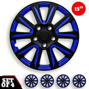 Set Of 4 Hubcaps 15 Wheel Cover Marina Bay Blue Black Abs Quality Easy Install
