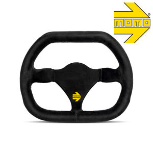 Momo R1929 27s Mod 29 Genuine Racing Steering Wheel Black Suede Flat Bottom Top