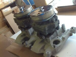 Weiand Wo4d Olds Olds Intake Manifold Dual Quads Vintage Rare 371 394 Gm Carbs