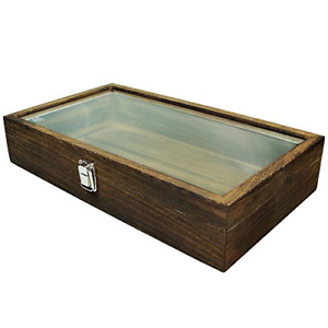 Mooca Wood Glass Top Jewelry Display Case Accessories Storage Wooden Jewelry