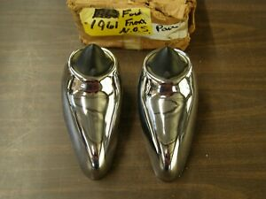 Nos Oem Ford 1961 Galaxie Front Bumper Guards Chrome Trim Pair