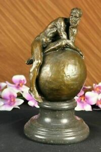 Classical Male Nude Bronze Marble Statue Signed Sculpture Bookend Partner Deal