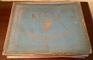Rare Antique Set Of Six French World Puzzles Atlas Geographique Complete 1920