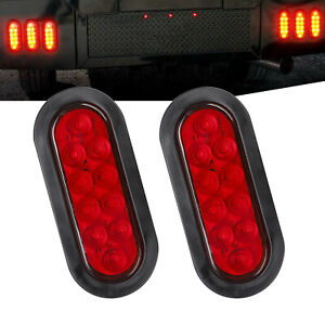 Pair Trailer Truck 10 Led Sealed Red 6 Oval Stop turn tail Light Waterproof New