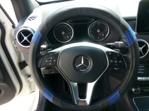 New Black Blue Stylish Pu Leather Steering Wheel Cover 14 25 15 Great Handling
