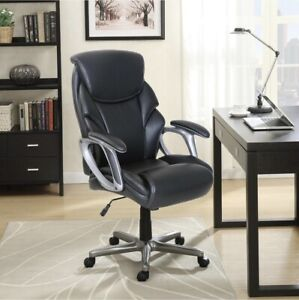 Serta Leather Manager s Office Computer Chair Black Free Shipping Brand New