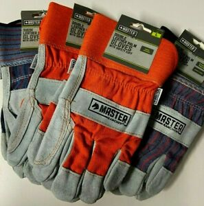 6 Pair Master Rancher Leather Palm Work Gloves Safety Cuff Sz Large Nwt