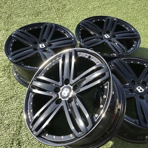 21 Bentley Mulsanne Rims Wheels Stock Oem Genuine Black 2 Piece Factory Set 4