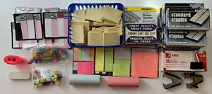 Large Assorted Office Supplies Lot Post its Staples Pins Clips Erasers Tabs