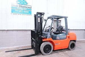 2011 Toyota Forklift 7fgu35 8 000 Pneumatic Dual Fuel Three Stage S s
