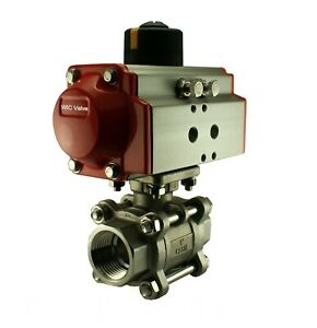 Pneumatic Air Actuated Stainless Ball Valve 3 4 Inch Double Acting Air Return