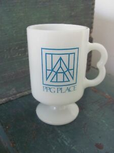Vintage Ppg Place White Milk Glass Mug Souvenir From Pittsburgh Pa