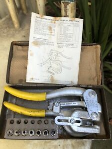 Roper Whitney No 5 Jr Vintage Hand Punch Set Complete W key Case Made In Usa