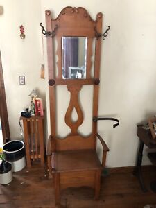 Antique Vintage Wood Victorian Hall Tree Mirror And Seat