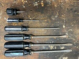 Snap On Tools Lot Of 6 Vtg Clutch Driver Head Screwdrivers Octo Grip Handle