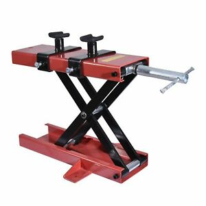 Red Motorcycle Scissor Lift Jack Workbench Dirt Center Stand Table 1100lbs Mini